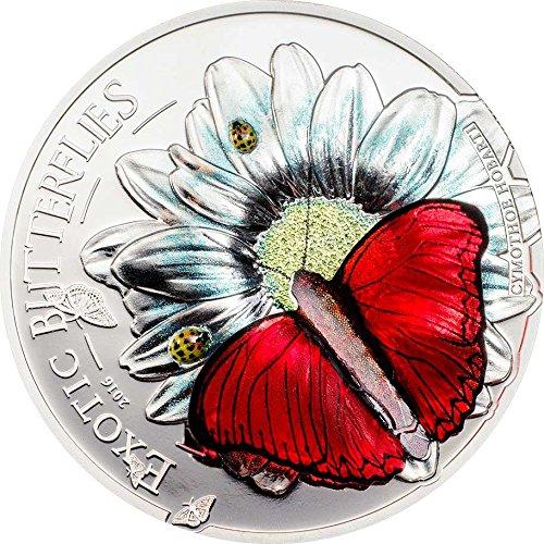 2016 TZ Butterfly 3d PowerCoin Exotic Butterflies Cymothoe Hobarti Silver Coin 1000 Shillings Tanzania 2016 Proof
