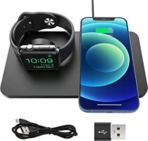 iSeneo 2 in 1 Wireless Charger - Wireless Charging Pad for iPhone 12/11/SE/XS Max/XR/XS/X/8/8P/AirPods Pro/2, Charging Dock for iWatch SE/6/5/4/3/2 (with USB to USB-C Converter, No iWatch Cable)