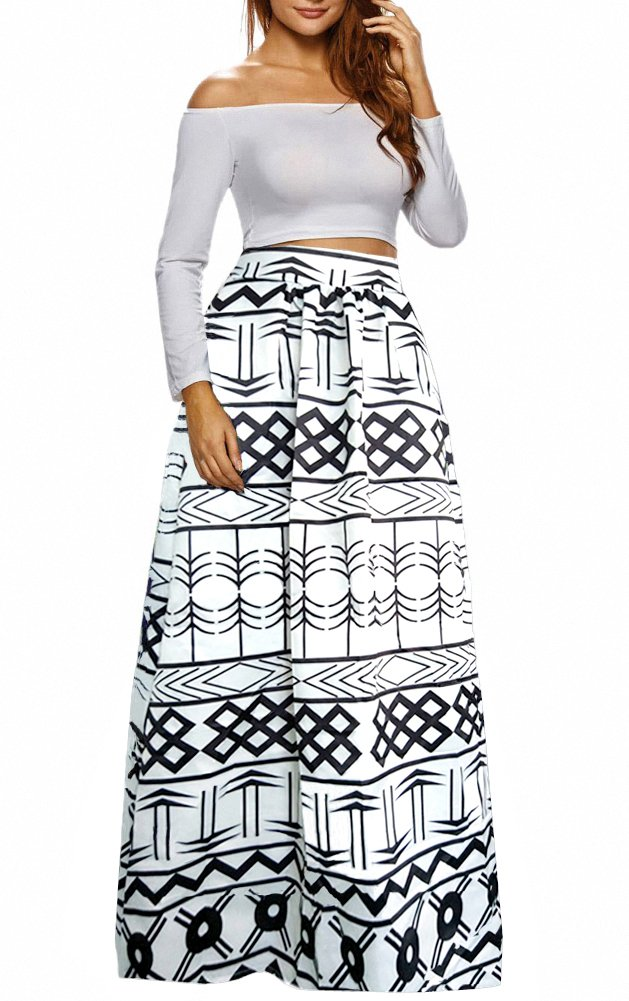 Afibi Women African Printed Casual Maxi Skirt Flared Skirt Multisize A Line Skirt (X-Large, Pattern 8) by Afibi (Image #1)