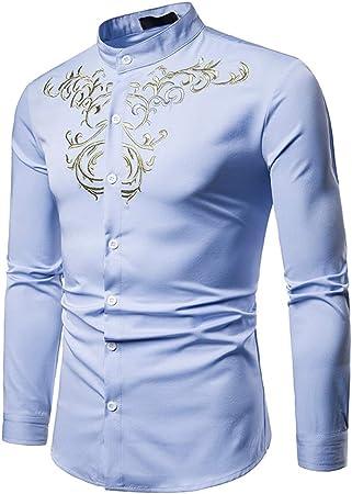 AFCITY-Shirt Camisas para Hombre Hipster Bordado de Oro para Hombre Cuello mandarín Slim Fit Tops Cuello de Solapa Camisa de Caballero de Manga Larga con Botones Elegante Camisa de Vestir: Amazon.es: Hogar