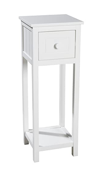 Telephone Table With Drawer And Shelf 25 X 25 X 70 Cm White Shabby Chic Side