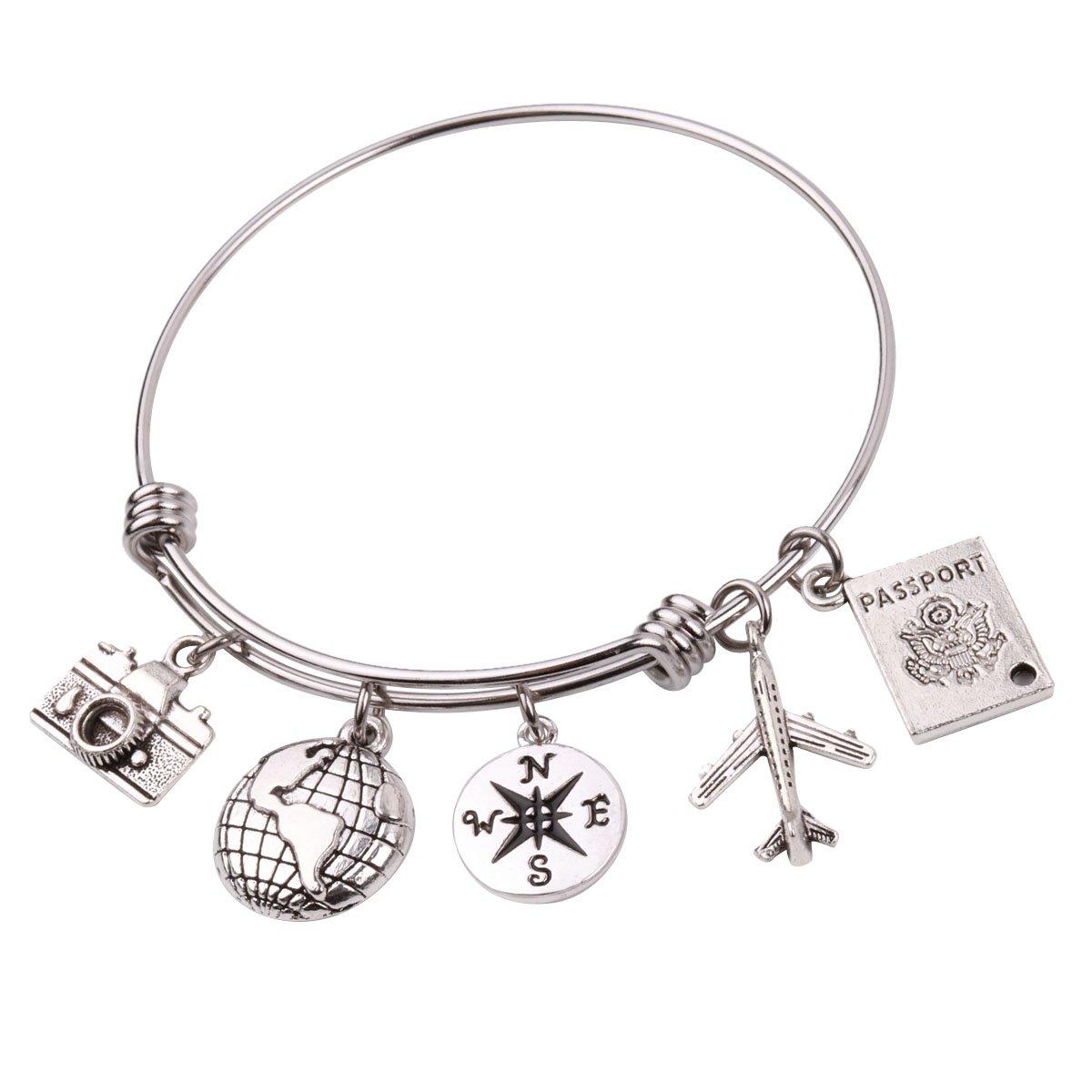 RUNXINTD Personalized Travel Bracelet Compass bangle bracelet Passport Bracelet Gift For Traveler (Silver Bangle Bracelet)