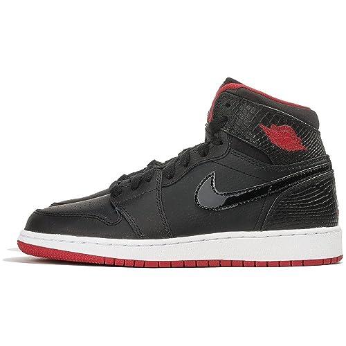 e2a254941d3108 Jordan Big Kids Air Jordan 1 Retro High (GS) (Black White  Gym red) Size 5  US  Amazon.in  Shoes   Handbags