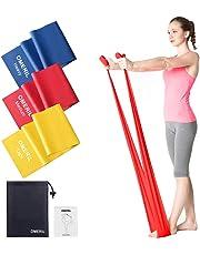 OMERIL Bande Elastiche Fitness (3 Pezzi), 1,5 m Fasce Elastiche con 3 Livelli di Resistenza, Fascia Elastica Esercizi Ideale per Yoga, Pilates, Allenamento di Forza e Flessibilità, Stretching