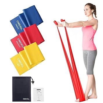 OMERIL Bandas Elasticas Fitness, Cintas Elasticas Fitness con 3 Niveles de Resistencia, 3 Piezas Banda Resistencia para Yoga, Pilates, Crossfit, ...