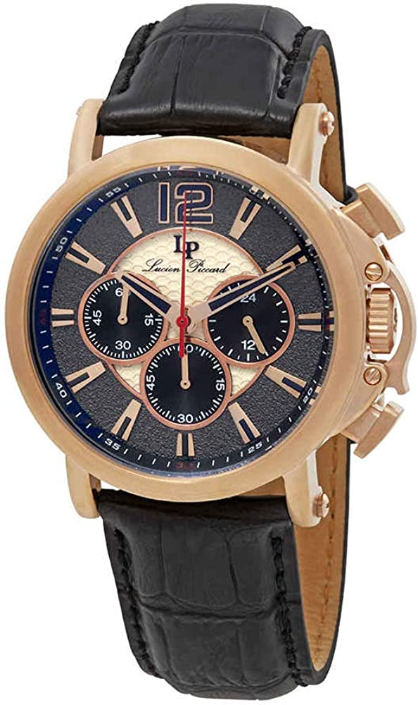 Lucien Piccard Men s Triomf Quartz Stainless Steel and Leather Watch, Color Black Model LP-40018C-RG-01