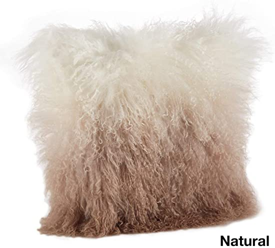 TN 16 x 16in Small Natural Color Beige White Unique Mongolian Lamb Fur Ombre Throw Pillow, Glam Modern Contemporary Scandinavian Wool All Season, Luxurious Soft Fluffy Furry Living Space Decor