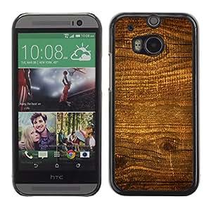 Qstar Arte & diseño plástico duro Fundas Cover Cubre Hard Case Cover para HTC One M8 ( Wood Nature Pattern Texture Brown Wall)