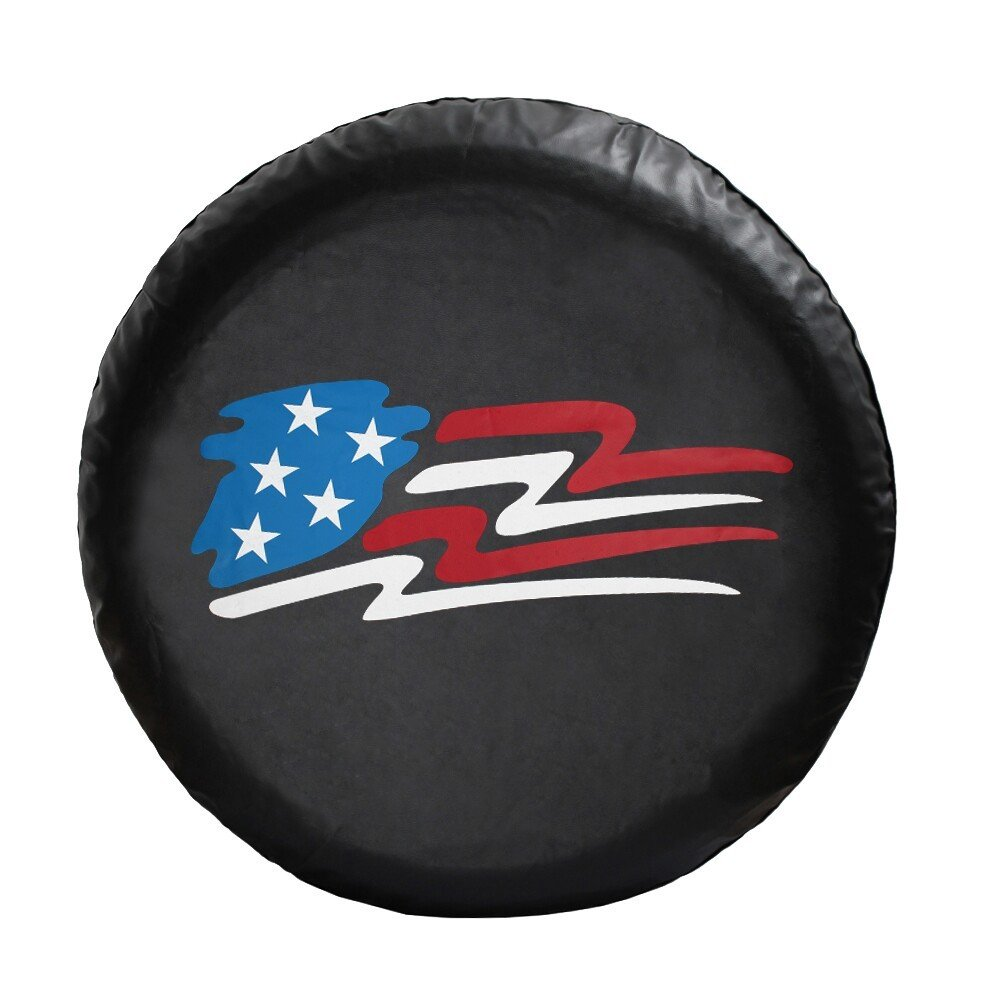 Moonet Universal Spare Wheel Tire Cover R16 Fit All Car With American Flag logo Imitation leather