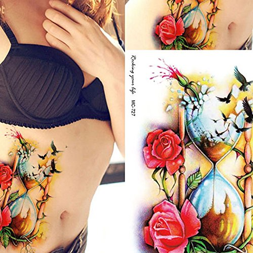Rose Red Waterproof Disposable Personalized Tattoo Stickers
