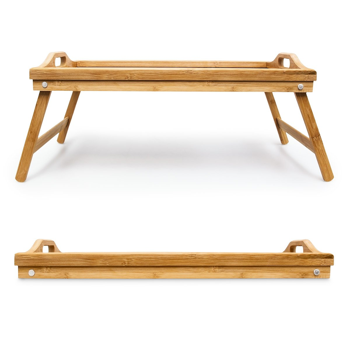 Amazon.com | Relaxdays Bamboo Folding Serving Tray Size: 21.5 x 47 x 27 cm Foldable Bed Table Serving Tray for Breakfast and Snacks and Lap Table or Knee ...