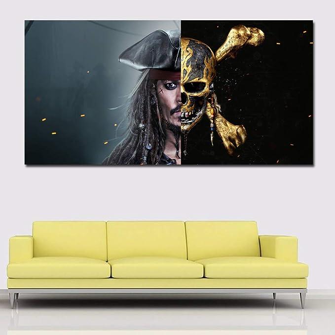 RTCKF Arte en Lienzo Pirata caribeño con Esqueleto Dorado ...