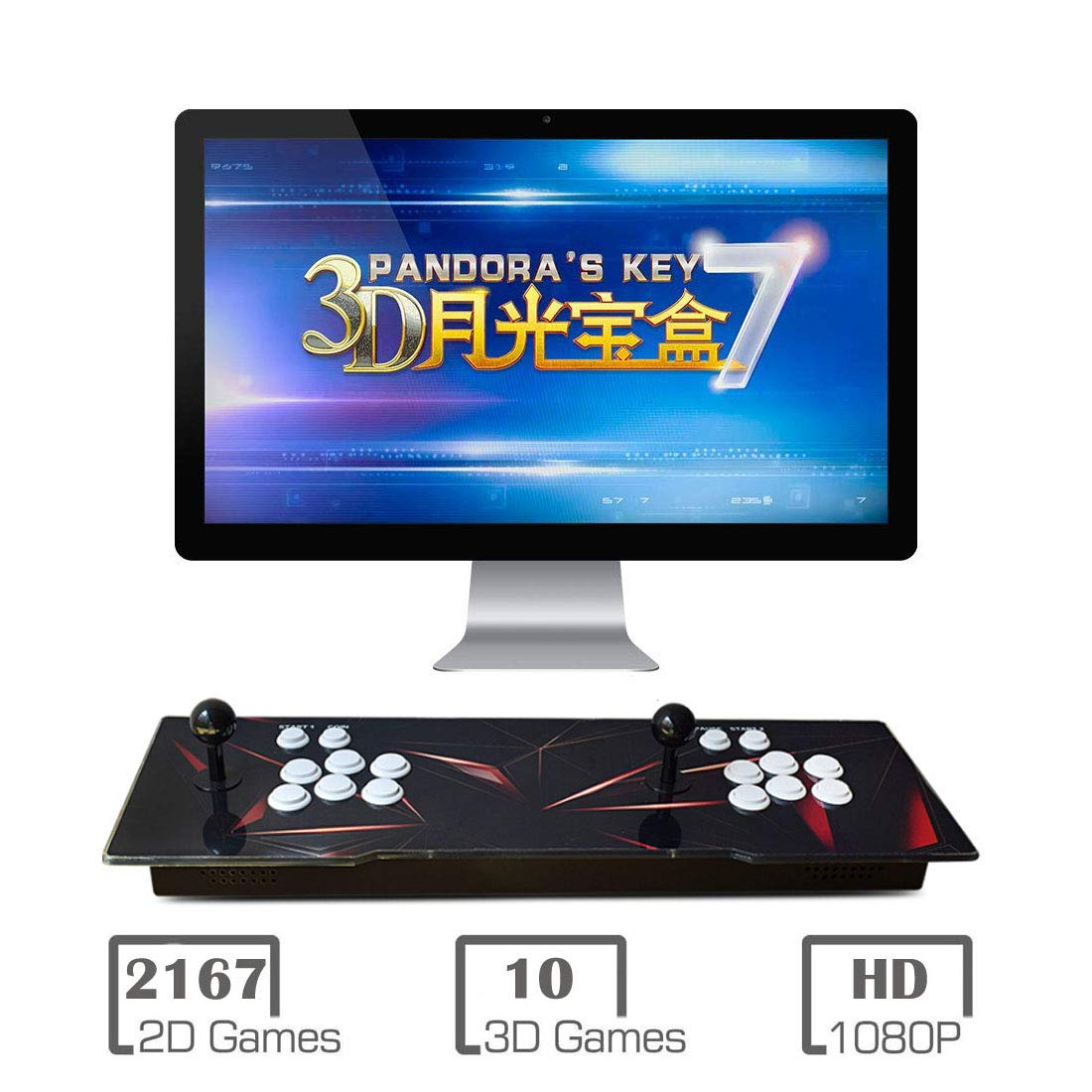 MYMIQEY 3D Pandora Key 7 Arcade Game Console | 2177 Retro HD Games | Add More Games | Full HD (1920x1080) Video | Support Multiplayer Online | 2 Player Game Controls | HDMI/VGA/USB/AUX Audio Output by MYMIQEY (Image #1)