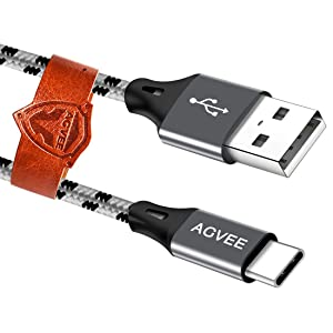 Agvee 3A Fast USB-C Charger Cable [4 Pack 1ft 3.6ft 6.8ft 6.8ft] Seamless USBC Tip, Braided Type-C Charging Cord for Samsung Galaxy S10 S10e S9 S 8 Note 9 8, Pixel 2 2XL 3 3XL 3a, LG V20 V30, Gray