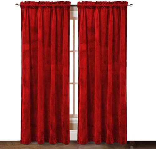 ComforHome Solid Soft Velvet Window Curtain Rod Pocket Drapes 52 inch