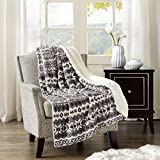 Comfort Spaces - Plush to Sherpa Blanket Throw - 50x60 inches - Fair Isle - Grey