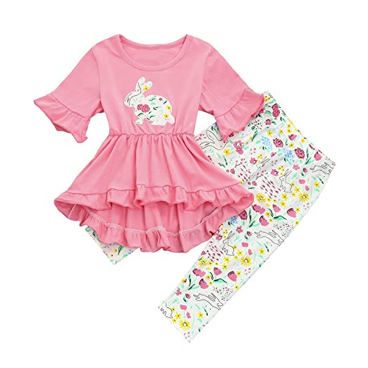 a0414e9cc868 Amazon.com: Lookvv Toddler Baby Girl Easter Outfit Floral Ruffles Tunic  Dress Leggings Pants Summer Clothes Set: Clothing