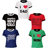 Goodway Boys Pack of 5 Mom and Dad Theme Printed T-Shirts(JB5PCKM&D-1_Multicolor) at amazon