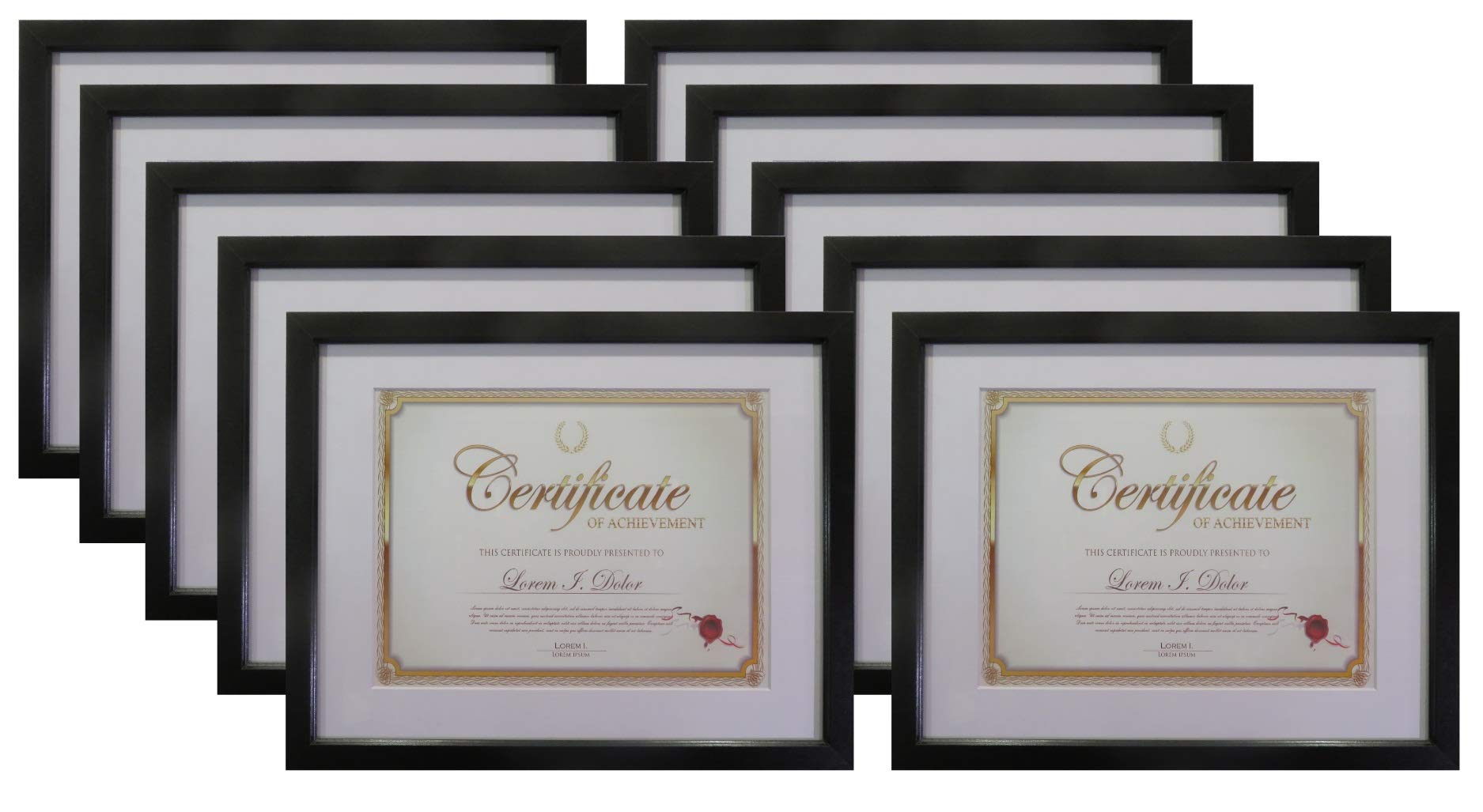 Frame Amo 11x14 Black Wood Certificate Frame, White Mat for 8.5x11 Document, Flat Border, 10-Pack
