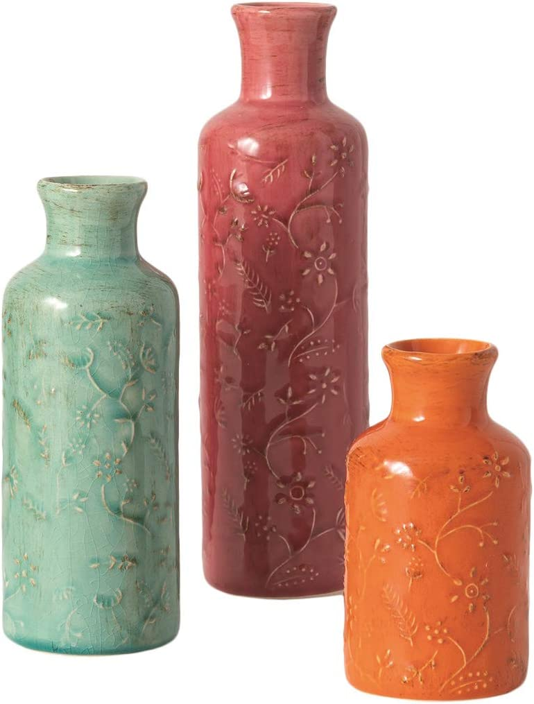 Set of 3 Decorative Ceramic Vases in Soft Teal Green, Rose and Orange – 5 Inches, 7 inches and 10 Inches High
