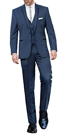 6d2eed7b31e8 Suit Me Blau Herren 3 Teilig Abschlussball Hochzeiten Anzug Tuxedos Sakkos  Weste Hose Blau S