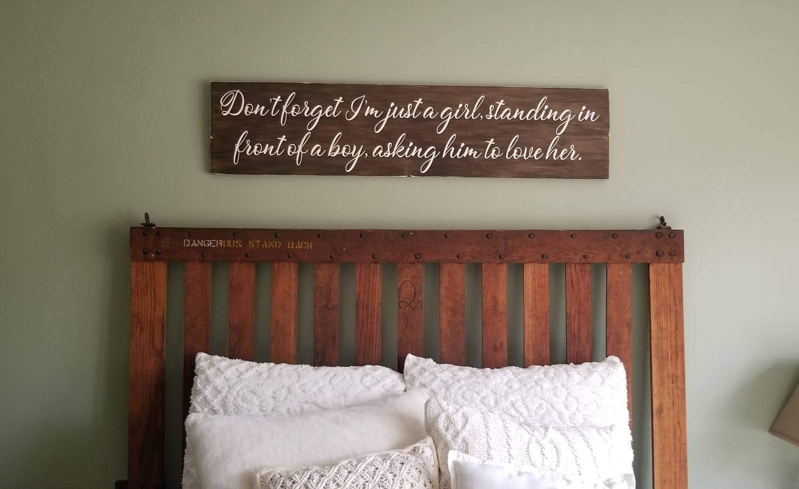 Mao Im Just A Girl Standing in Front of A Boy Headboard Sign Queen Headboard Over The Bed Sign by MaoSign