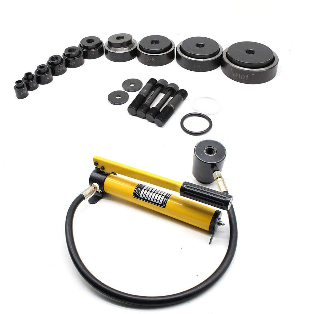 TFCFL 15Ton 10 Dies Hydraulic Knockout Punch Driver Kit Hand Pump Hole Tool Metal Case Hand Tools