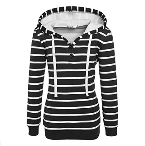 ZJSWCP Sweatshirt Womens Stripe Loose Casual Long Sleeve Hoodie Sweatshirt Jumper Pullover Tops Manteau Femme Hiver
