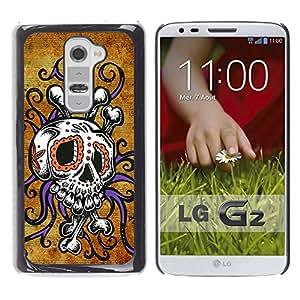 GOODTHINGS Funda Imagen Diseño Carcasa Tapa Trasera Negro Cover Skin Case para LG G2 D800 D802 D802TA D803 VS980 LS980 - cráneo pulpo oro floral púrpura