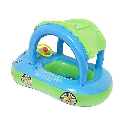 masterein bebés flotador niño asiento flotador barco con toldo volante, azul
