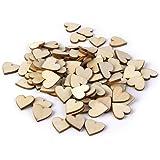 Rosenice 100 pz 20mm bianco cuore legno fette dischi per bricolage fai da te decorazioni