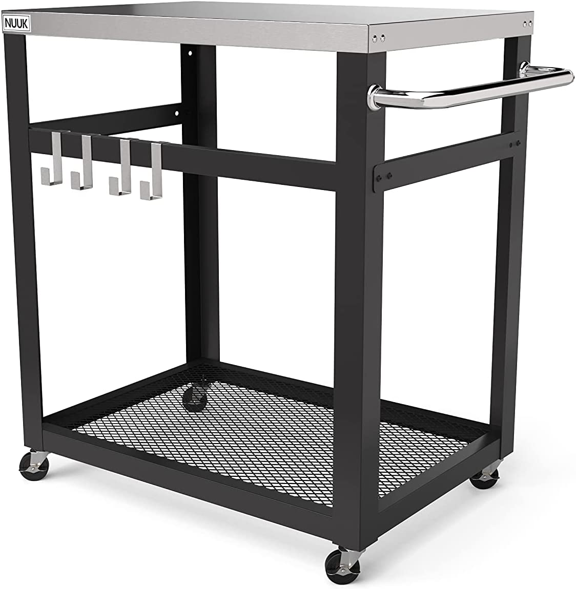 NUUK Double-Shelf Movable Outdoor Worktable, 20'' x 30'' Stainless Steel Commercial Kitchen Food Prep Table, Flattop Dining Cart Table, Outdoor Bar Table