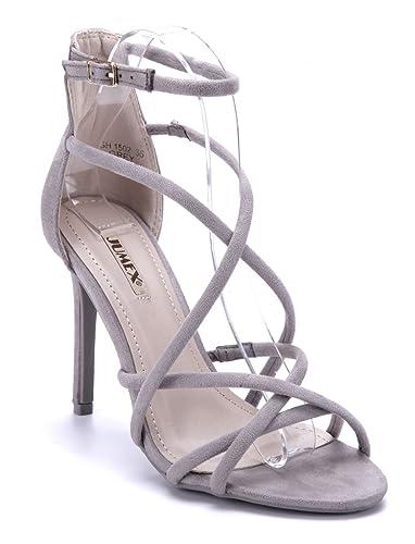 e5d405914fa41a Schuhtempel24 Damen Schuhe Sandaletten Sandalen grau Stiletto 10 cm High  Heels