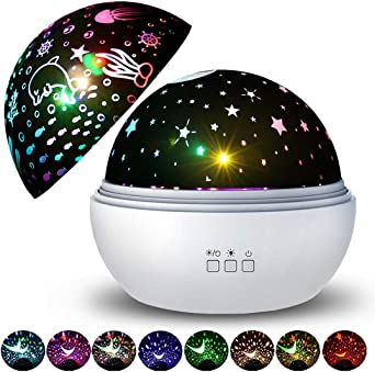 Lámpara Proyector Estrellas Infantil REETWO Luz de Nocturna LED ...