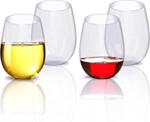 Wine Glasses Set, Unbreakable Party Wine Glasses, Plastic Cups Dishwasher Safe Stemless Plastic Wine Glasses 4pcs (16oz)