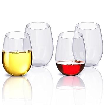 Juego de copas de vino, homeweeks partido copas de vino, vasos de plástico apto para lavavajillas sin tallo copas de vino de plástico irrompible 4 piezas ...