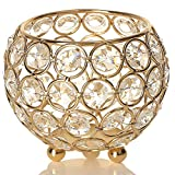 VINCIGANT Gold Crystal Tea Light Candle Holders/Modern Wedding Coffee Table Decorative Centerpieces for Anniversary Celebration Birthday House Gifts,4 Inch Diameter