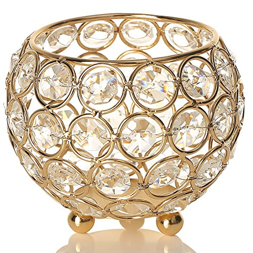 VINCIGANT Gold Crystal Tea Light Candle Holders/Wedding Coffee Table Decorative Centerpieces for Mothers Day Birthday House Gifts,4 Inch Diameter - Birthday Table Centerpieces