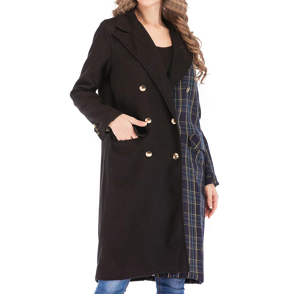 Fashionhe Jacket Womens Warm Button Outerwear Faux Splice Zipper Coat Jacket Winter Overcoat(Black.XL) by Fashionhe