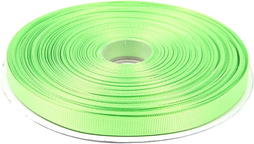 Topenca Supplies 3/8 Inches x 50 Yards Double Face Solid Grosgrain Ribbon Roll, Apple Green