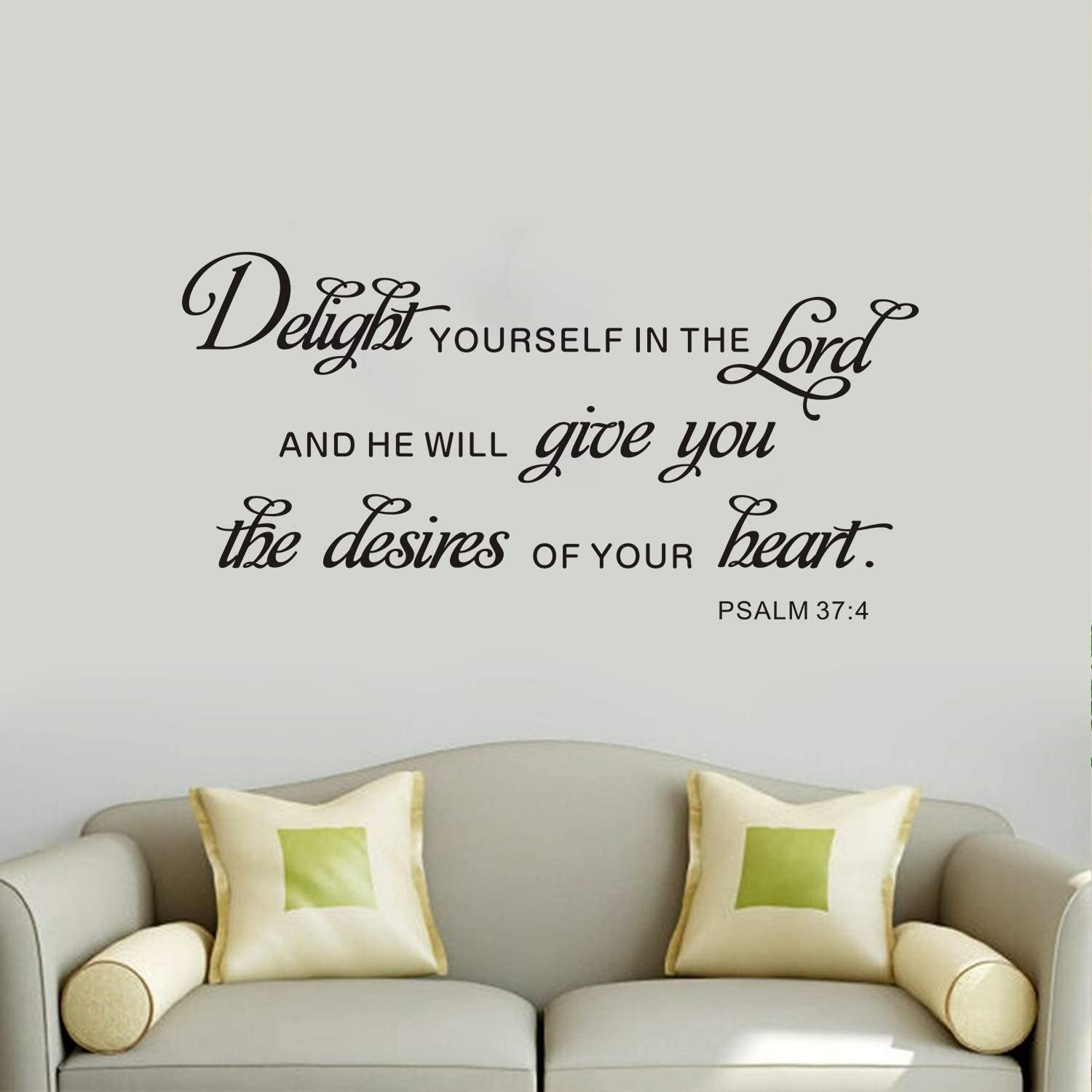 AnFigure Wall Decals for Living Room, Quotes Wall Decal, Bible Verse Biblical Church Vinyl Art Home Decor Stickers Delight Yourself in The Lord and He Will Give You The Desires of Your Heart 22