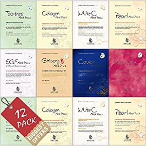 NAISTURE Facial Sheet Mask (Pure 100% Cotton) 8 kinds Assorted Combo Pack / Pack of 12