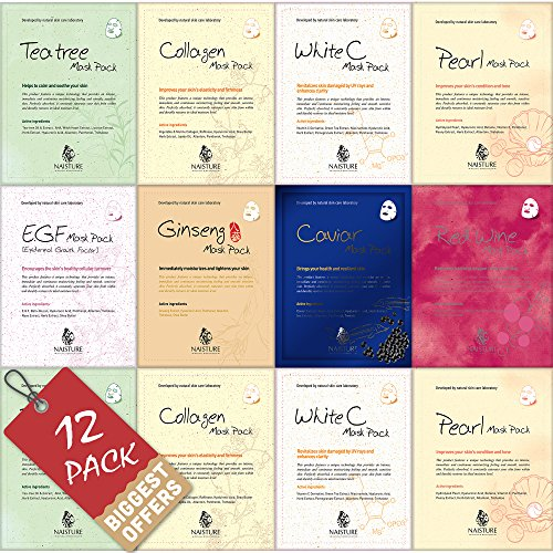 Facial Sheet Mask [NAISTURE] Face Treatment (12 Sheets) (Pure 100% Cotton), Smooth Moisturizing Hydration Revitalizing Brings your Health and Resilient Skin, Made in Korea - Pack of 12 - Red Wine Collagen Mask