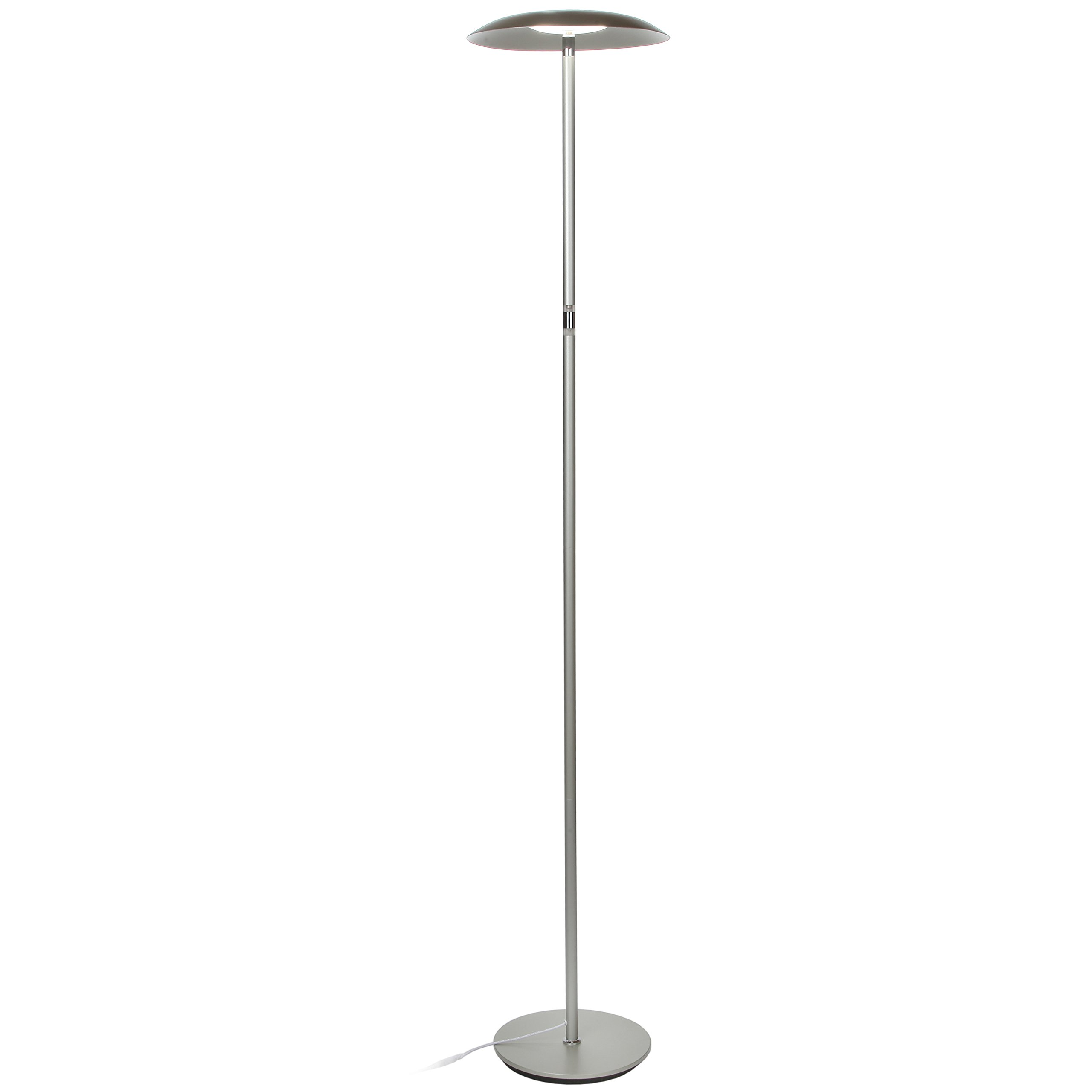 Brightech Sky Downlight - LED Reading Floor Lamp for Offices – Dimmable Craft & Hobby Light– Modern Tall Standing Pole Light for Living Room, Bedroom – Platinum Silver