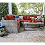 Leisure Made Forsyth 5 Piece Outdoor Sectional, Red Fabric For Sale