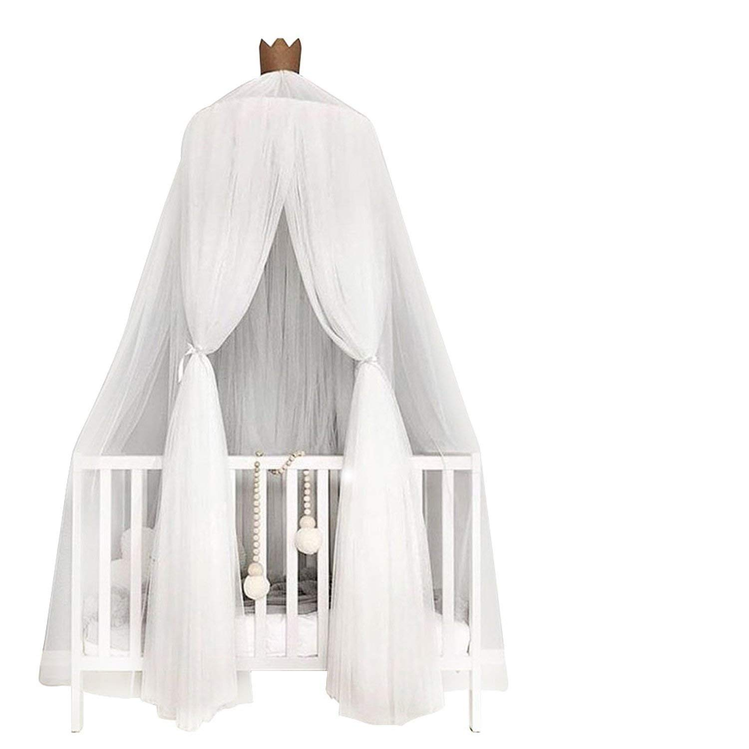 Welcome to Joyful Home Kids Mosquito Net Bed Canopy Round Lace Dome Princess Play Tent Bedding for Baby Kids Children's Room 240cm (White)