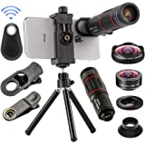 4 in 1 Cell Phone Camera Lenses Kit, 18X Telescopic Zoom Lens/4K HD Super Wide Angle/Macro/Fisheye Lens/Tripod/Camera…
