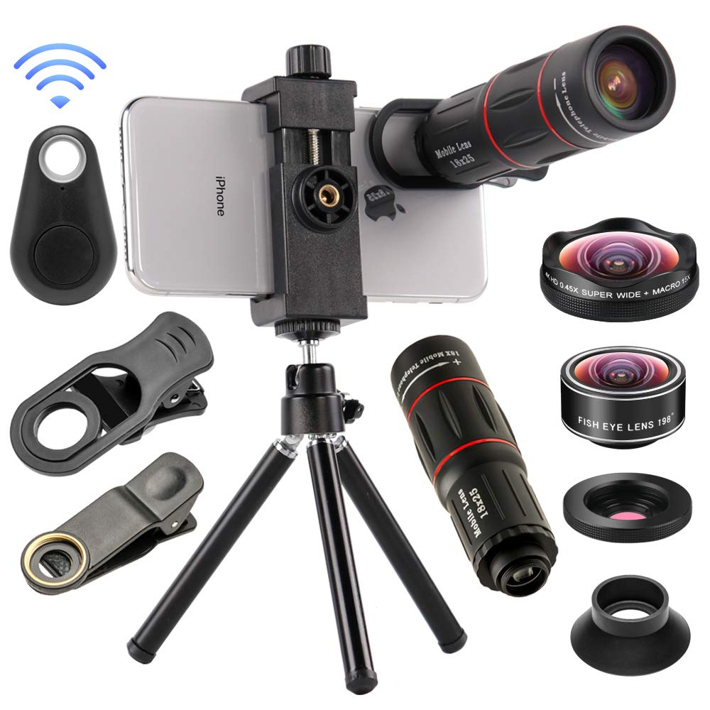 4 in 1 Cell Phone Camera Lenses Kit, 18X Telescopic Zoom Lens/4K HD Super Wide Angle/Macro/Fisheye Lens/Tripod/Camera Shutter Compatible with iPhone Xs Max 8 7 6 Plus, Samsung HTC Moto and More by Mocalaca