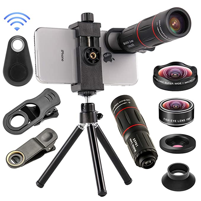 on sale 72b36 42e1f 4 in 1 Cell Phone Camera Lenses Kit, 18X Telescopic Zoom Lens/4K HD Super  Wide Angle/Macro/Fisheye Lens/Tripod/Camera Shutter Compatible with iPhone  ...