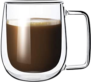 Lezero Double Walled Coffee Mugs - Anti-scalding Glass Coffee Mugs with Handle - Insulated Clear Glassware for Hot Beverages, Cappuccino, Latte, Ice Water - 8.5oz - Great for Gift